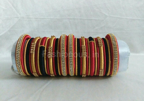 Red,Black and Golden Silk Thread Bangles