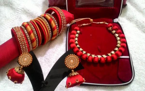 Red Designer Silk Thread Full set