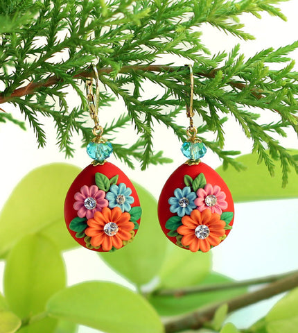 Red Drop Garden  Polymer Clay Earrings