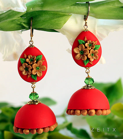 Red and Gold Floral  Polymer Clay Jhumka
