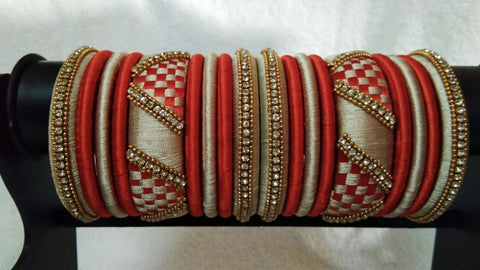 Red and Beige Checked Stone Worked Silk Thread Bangle Set-STJSW-063