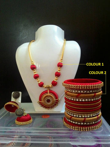 Red and Gold Silk Thread Necklace Set with Silk Thread Bangles