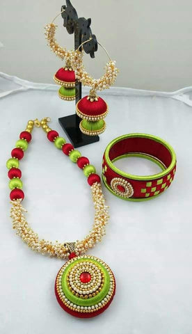 Red and Green Round Pendant Silk Thread Jewellery Set-STJSW-110