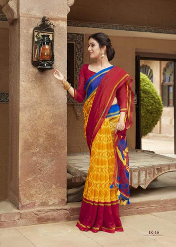 Red and Mustard Jute Saree-JS004