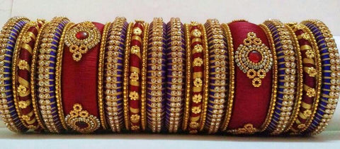 Red and Purple Silk Thread Bangle Set-STJSW-113