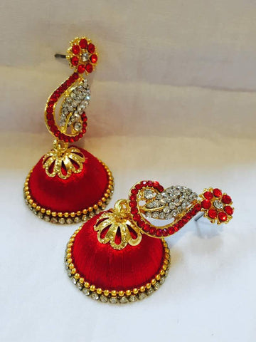 Red and White Stone Studded Peacock Neck Floral Silk Thread Jhumkas-STJH-041