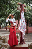 Seashell Maroon and White Lehenga