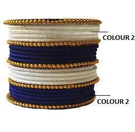 Royal Blue and white Silk Thread Bangle set