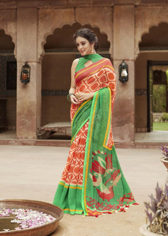Rust Orange with Green Border Jute Saree- JS012