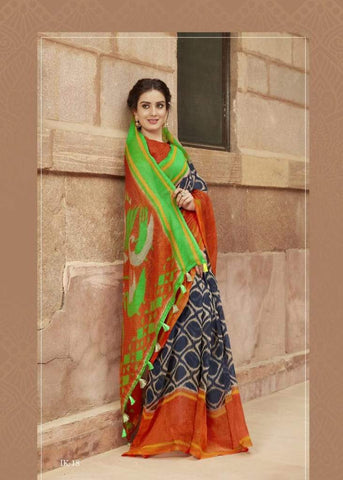 Rust and Green Jute Saree-JS006