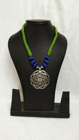 Silver Antique Pendant with Blue and Green Silk Thread Jewellery Set-STJS-001