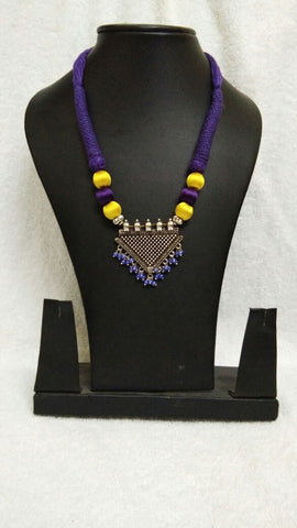 Silver Triangular Pendant with Yellow and Purple Silk Thread Jewellery Set-STJS-002