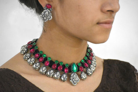 Stone Threaded Temple Jewellery Set-STTJS009