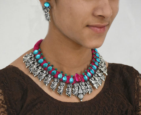 Stone Threaded Temple Jewellery Set-STTJS010