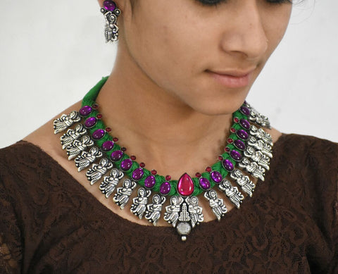 Stone Threaded Temple Jewellery Set-STTJS011