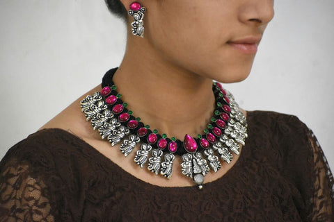 Stone Threaded Temple Jewellery Set-STTJS013