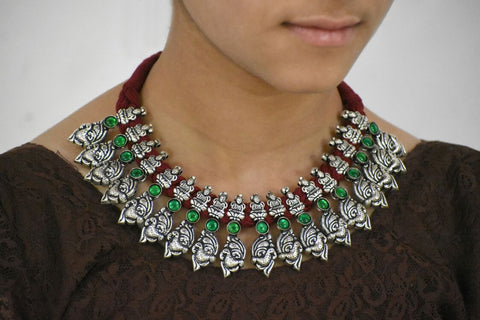Stone Threaded Temple Necklace-STTJS016