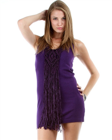 PURPLE LEEVELESS SWEATER DRESS WITH FRONT TASSLE