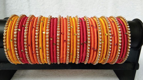 Tricolor Stone Worked Silk Thread Bangle Set-STJSW-062