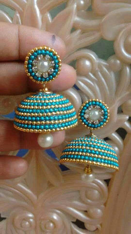 Turquoise Blue Beaded Silk Thread Jhumkas