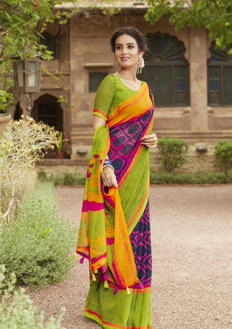 Violet with Green Border Jute Saree- JS008