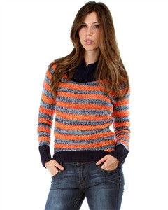 ORANGE STRIPE COWL NECK KNIT SWEATER
