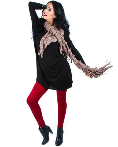 RED HIGH-WAIST FLEECE LINED LEGGINGS