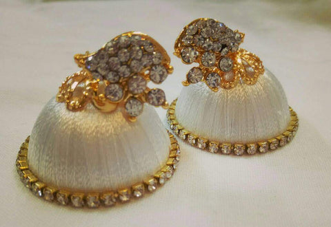 White Stone Half Floral With Leaf Silk Thread Jhumkas-STJH-005