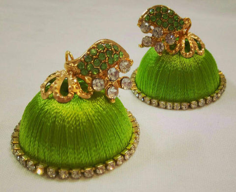 White Stone Half Floral With Light Green Stone Studded Leaf Silk Thread Jhumkas-STJH-007