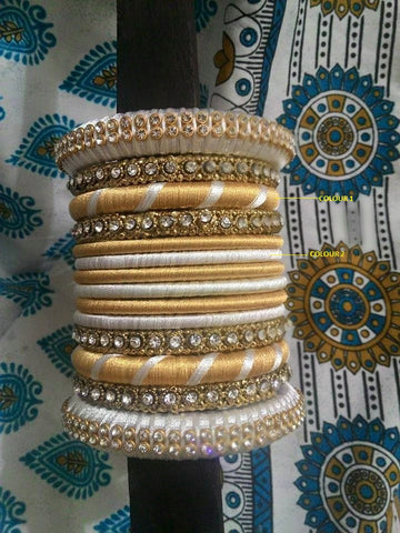 White and Gold Silk Thread Bangle Set