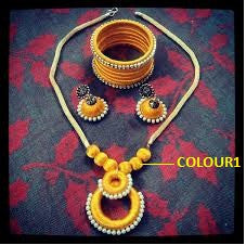 Yellow Silk Thread Necklace Set with Silk Thread Bangles