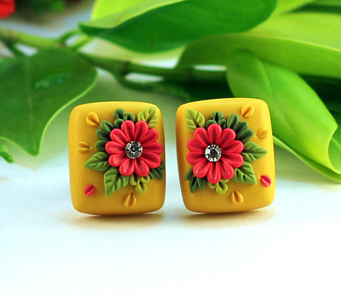 Yellow Red Floral Embroidery  Polymer Clay Stud