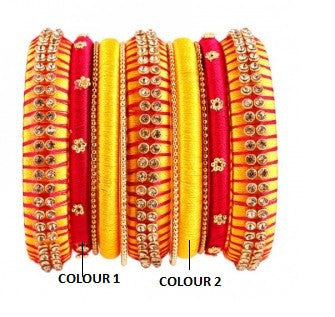 Yellow and Red Studded Silk Thread Bangle Set