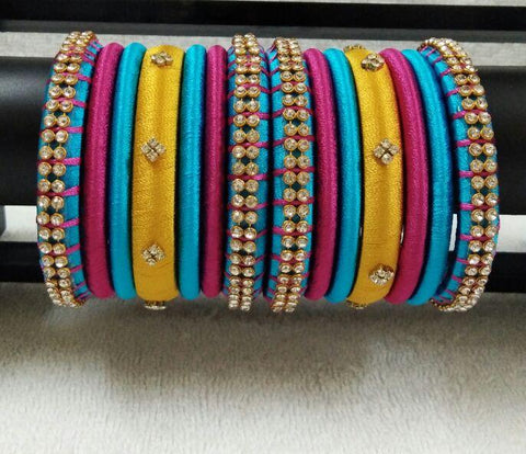 Yellow with Blue and Pink Stone Worked Silk Thread Bangle Set-STJSW-051