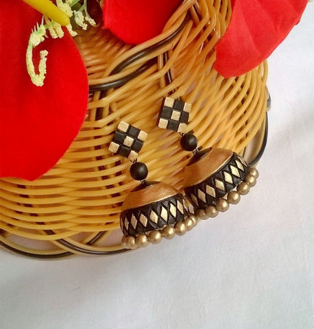 Black & Gold checked Terracotta Jhumka