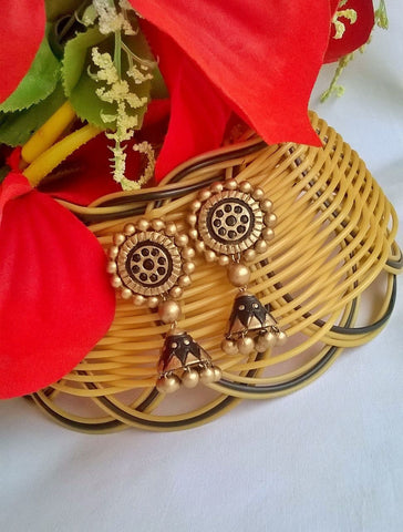 Black & Gold Circle Terracotta Jhumka