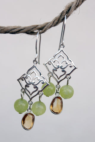 Lotus Lemon chandelier earrings