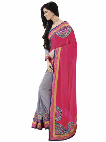Melluha Fabulous Georgette Half and Half Saree