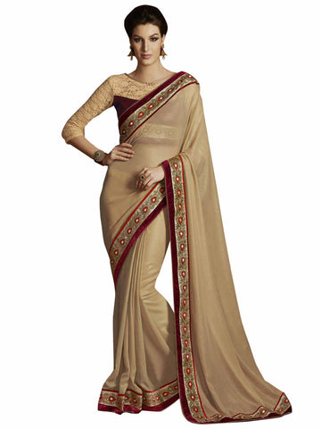 Melluha Royal Light Gold Georgette Designer Saree