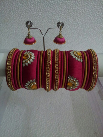 Pink with Gold Silk Thread Bangles and Jhumkas