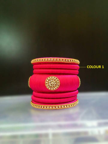 Pink Designer Silk Thread Bangles