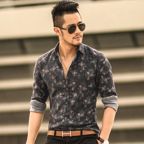 Floral Printed Men's Long Sleeve Casual Shirts (Available in 5 colours)