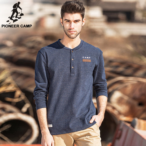 Pioneer Camp Mens  v-neck elastic soft t shirt
