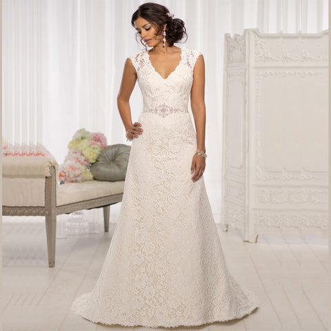 Beautiful Lace Flowers Cap Sleeves Bridal gown