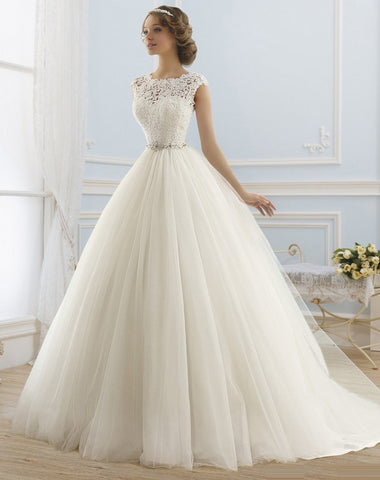 Princess Appliques Beaded Tulle Bridal Gowns