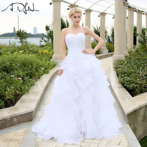 Ivory/White Organza Ruffled  Bridal Gown