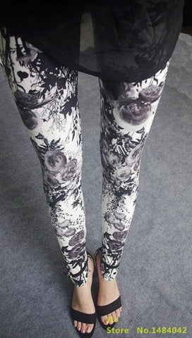 Retro Style Floral Printed High Elasticity Leggings - gray flowers