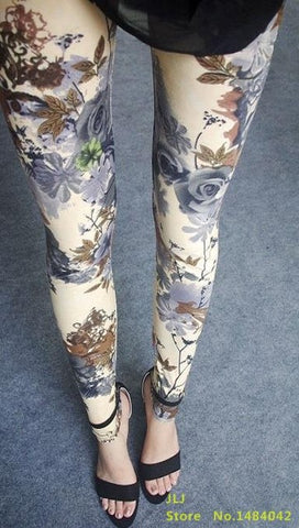 Retro Style Floral Printed High Elasticity Leggings - khaki flowers