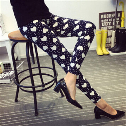 Retro Style Floral Printed High Elasticity Leggings -  S0595-003