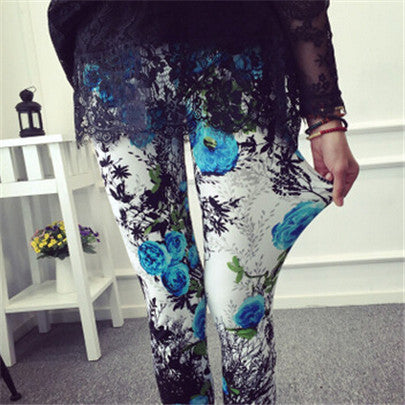 Retro Style Floral Printed High Elasticity Leggings
